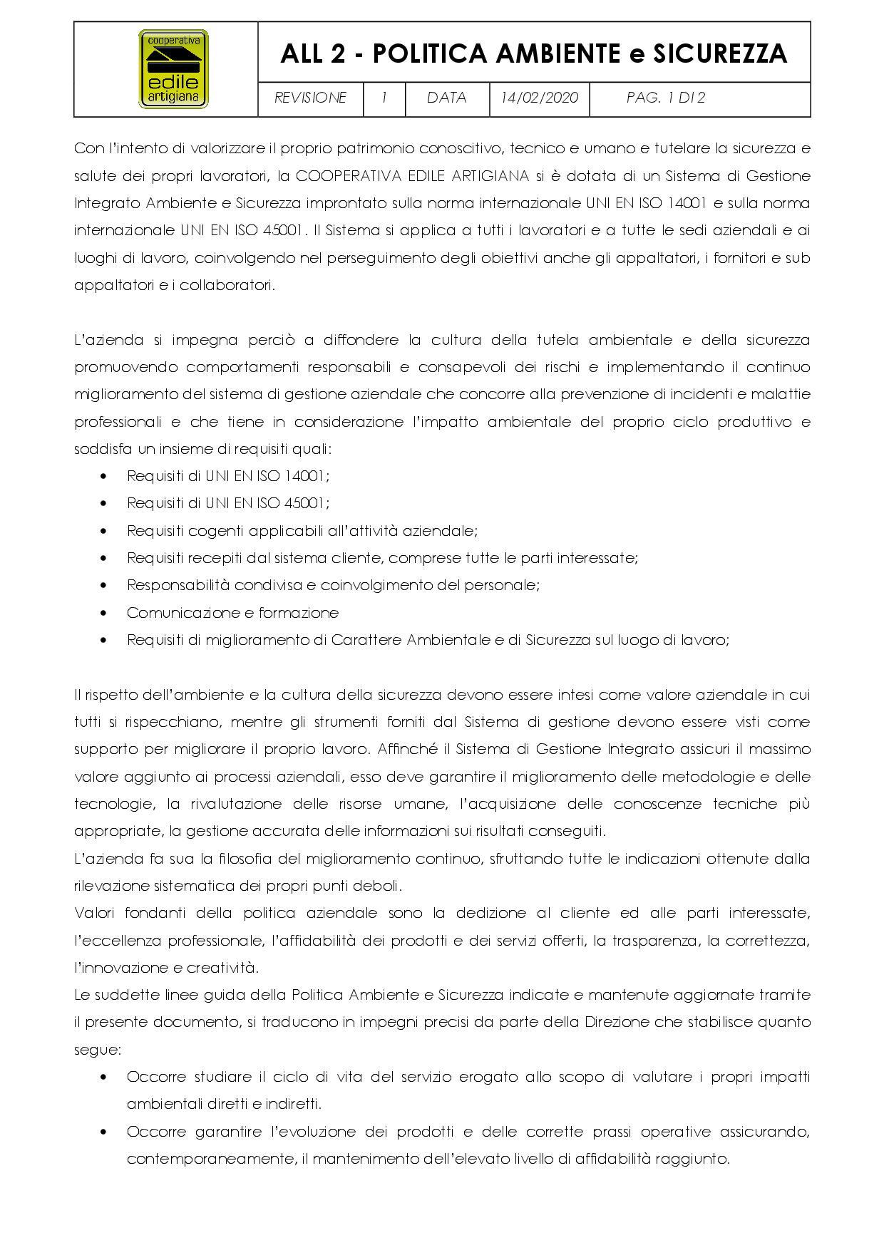 POLITICA AMBIENTE e SICUREZZA1